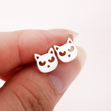 Jisensp Women Fashion Earings Cute Animal Cat Stud Earings Trending Products 2018 Summer Style Earrings for Girls brincos E17932821755138