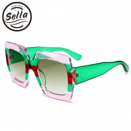 Sella 2018 New Arrival Fashion Women Men Transparent Multi-Color Frame Square Sunglasses Trend Luxury Brand Designer Sun Glasses